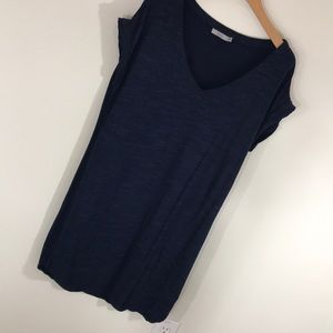 Navy blue French Terry V-neck dress